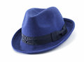 Hat blue felt on white Stock Photography