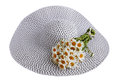 Hat with a bouquet of daisies summer big Stock Photography