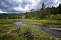 Hat creek and lassen peak lassen volcanic national park clouds over Royalty Free Stock Photo
