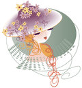 A hat decorated with flowers young lady in girlyanodoy Royalty Free Stock Photography