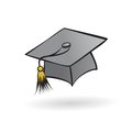 Hat graduate student in a painted style on a white background Stock Image