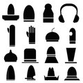 Hat icons set of silhouette illustrations Stock Images