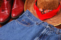 Hat Jeans & Boots Stock Image