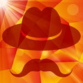 Hat with mustache on an abstract geometrical background a red Royalty Free Stock Images