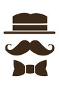 hat mustache and bowtie icon Royalty Free Stock Photo
