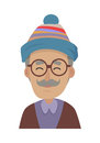 Hat. Old Man Wearing Blue Striped Cap and Glasses Royalty Free Stock Photo