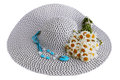 Hat with a turquoises summer big bouquet of daisies Stock Photos
