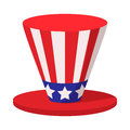 Hat in the USA flag colors cartoon icon