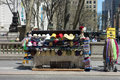 Hat vendor a street selling hats and pashminas in midtown manhattan Stock Image