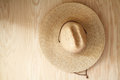 Hat on wood with background texture Royalty Free Stock Photo