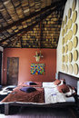 Hatari lodge tanzania bedroom of on near mount kilimanjaro Stock Photo