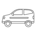 Hatchback car vehicle side view outline Royalty Free Stock Photo