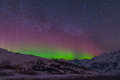 Hatcher pass nighttime with stars and northern lights Royalty Free Stock Photo