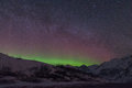 Hatcher pass nighttime with stars and northern lights Stock Image