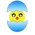 Hatching amusing chicken from a blue egg raster illustration Stock Photo
