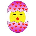 Hatching amusing chicken from a pink egg with red hearts raster illustration Stock Photos