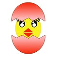 Hatching amusing chicken from a red egg raster illustration Stock Photography