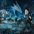 Hatchling dragon and gnome night fairytale scenery with fantasy plants Royalty Free Stock Photos