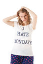 Hate mondays young woman is hating Stock Images