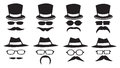 Hats and moustaches vector illustration of isolated glasses on white background Stock Photos