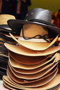 Hats for sale at the market Royalty Free Stock Photo