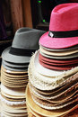 Hats for sale at the market Royalty Free Stock Photos