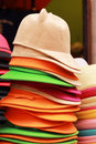 Hats for sale at the market Royalty Free Stock Photography