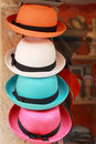 Hats for sale at the market Royalty Free Stock Image