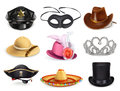 Hats set, collection of headgear Royalty Free Stock Photo