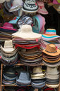 Hats on a shop varied fashion showcase open market Royalty Free Stock Photos
