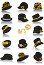 Hats silhouettes 2 Royalty Free Stock Images