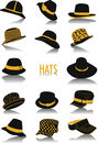Hats silhouettes Royalty Free Stock Photo