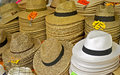 Hats stacks of at an open air market Stock Photos