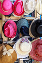 Hats store colorful hanging on display Royalty Free Stock Photo