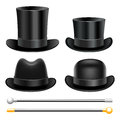 Hats and walking sticks set of Royalty Free Stock Photo