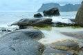 Haukland beach summer view (Norway, Lofoten). Royalty Free Stock Photo