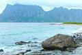 Haukland beach summer view norway lofoten stony Stock Photography