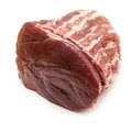 Haunch of venison wrapped in bacon and tied with string oven ready white background Stock Images