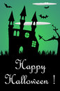 Haunted castle abstract colorful background with bats and a solitary tree halloween theme Stock Photography