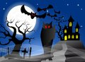 Haunted castle with bats vector illustration of a Royalty Free Stock Photography