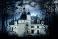Haunted castle with dark scary horror atmosphere around it blue dark sky trees silhouettes and bats coming out of the windows Stock Photography