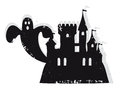 Haunted castle illustration of a scary house with a ghost flying Royalty Free Stock Photography