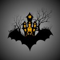 Haunted castle in scary halloween night vector illustration of Stock Images