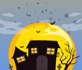 A haunted house and the bright full moon illustration of Stock Photo