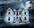 Haunted house with dark scary horror atmosphere around it blue dark sky trees silhouettes and bats coming out of the windows Royalty Free Stock Photos