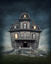 Haunted house on the empty field Royalty Free Stock Photography