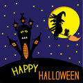Haunted house and flying witch and cat happy halloween card vector illustration Stock Photos