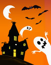 Haunted house and ghosts Royalty Free Stock Photo