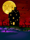 Haunted House on a Graveyard hill. EPS 8 Royalty Free Stock Photos