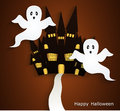 Haunted house halloween background bedding or card Stock Image